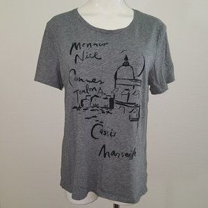 Old Navy Gray Tee Medium Relaxed France Towns